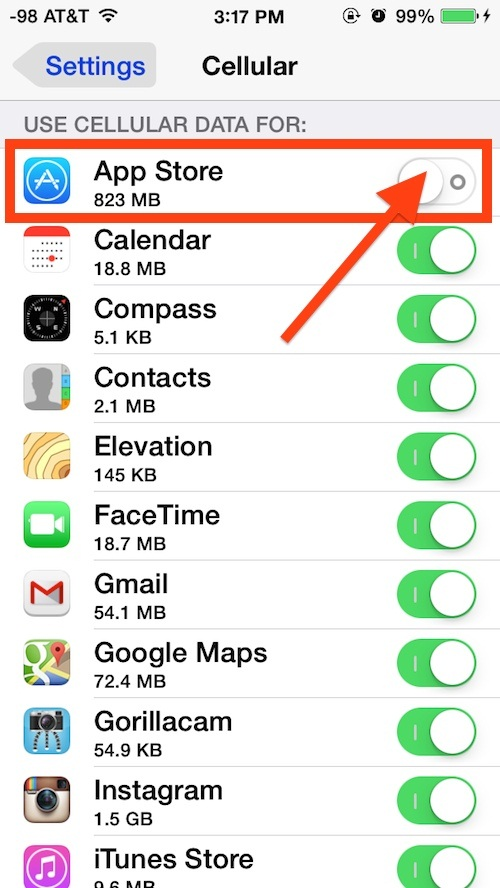 Disable Cellular Data iPhone